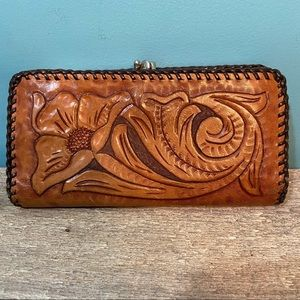 Vintage leather hand tooled wallet